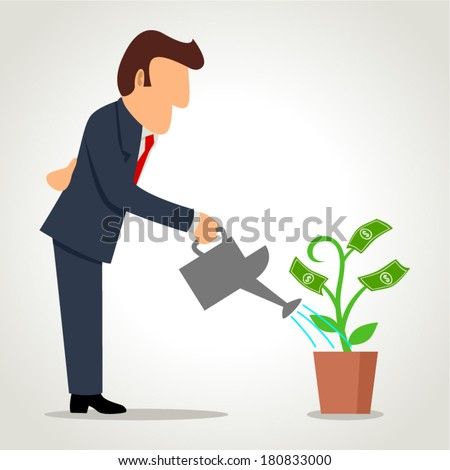 Simple cartoon of a businessman watering a money plant - stock vector