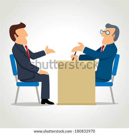 Simple cartoon of a man being interviewed - stock vector