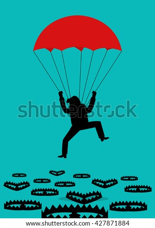 Simple cartoon of a man with parachute falling into bear traps. Business, survival, placement concept - stock vector
