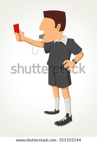 Simple cartoon of a soccer referee showing red card - stock vector