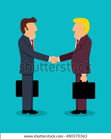 Simple cartoon of businessmen shake hand, concept for deals, teamwork, partnership in business