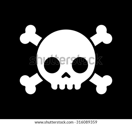 simple cartoon skull crossbones icon on stock vector