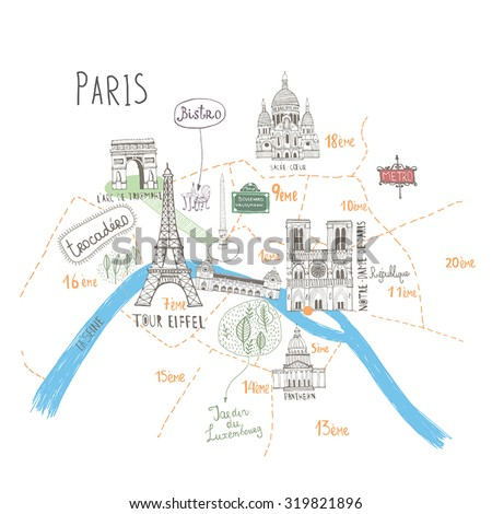 simple cartooned map o paris with legend icons france