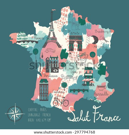 Simple Cartooned Map of France with Legend Icons - stock vector