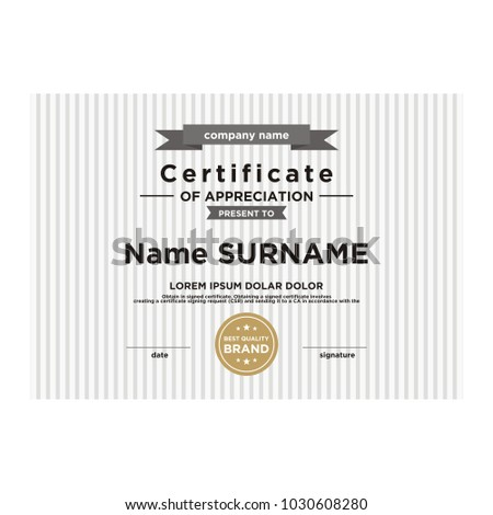 Simple Certificate Template Stock Vector 1030608280 Shutterstock