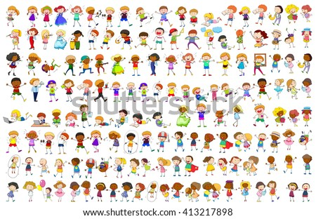 Simple characters in different actions illustration - stock vector