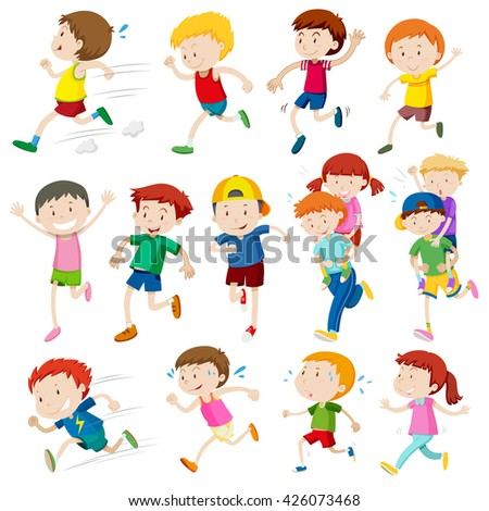 Simple characters of kids running illustration - stock vector
