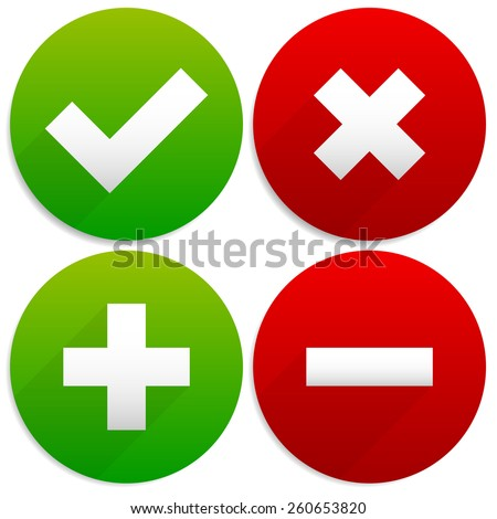 Simple Checkmark, Cross and Plus, Minus Signs / Icons - stock vector