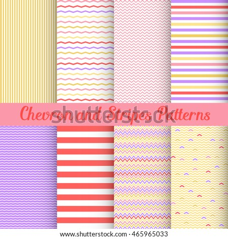 Simple Chevron and Stripes patterns pink set. Seamless patterns for your art. Repeating pattern with lines. Pattern with stripes. Pattern with chevron. Simple geometric pattern. Cute pattern. Pattern