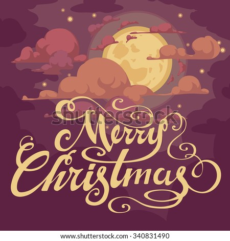Simple Christmas card - dark, purple background - night sky with stars, moon and handwritten letters - stock vector