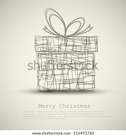 Simple Christmas card with a gift made from rectangles - stock vector