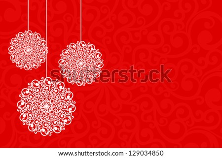 Simple Christmas card with floral motifs. - stock vector