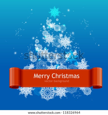 Simple Christmas card with white Christmas tree - stock vector