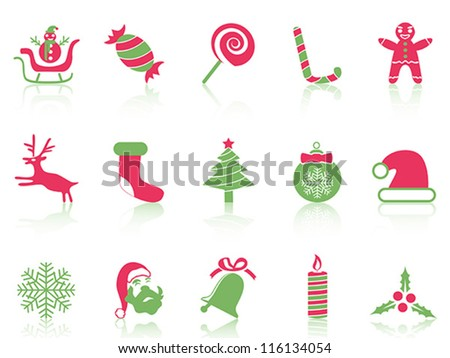 simple Christmas icons set - stock vector