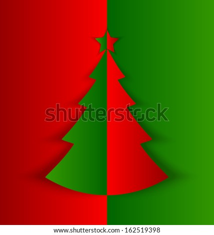 Simple Christmas tree made of folded paper with shadow on red green background - stock vector
