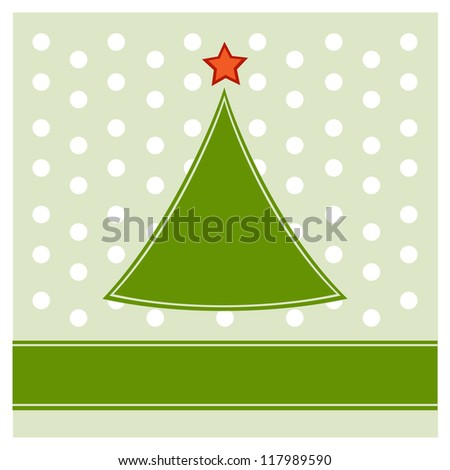 Simple Christmas tree on polka dot pattern background - stock vector