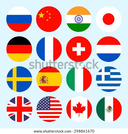 Simple circle flags vector of the countries in flat style. - stock vector