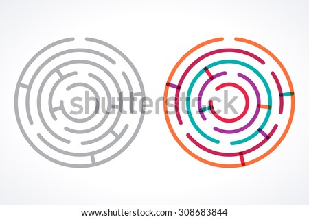 Simple circle mazes. Transparent overlapping colorful linear vector labyrinth, gray linear labyrinth - stock vector