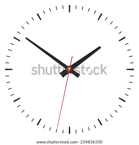 Simple classic clock on white - stock vector