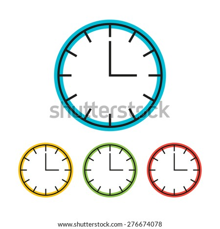 Simple clock icon in four variants. Vector illustration