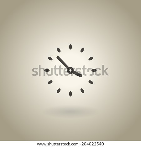 Simple clock illustration with shadow - stock vector