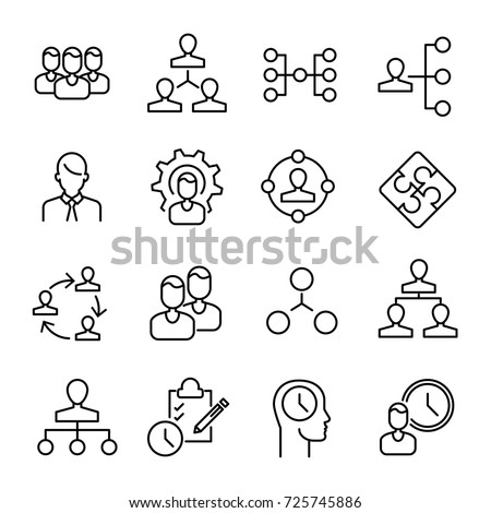 Simple Collection Organization Related Line Icons Stock Vector