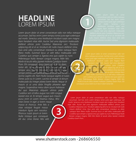 Simple color business report design template, vector illustration. - stock vector