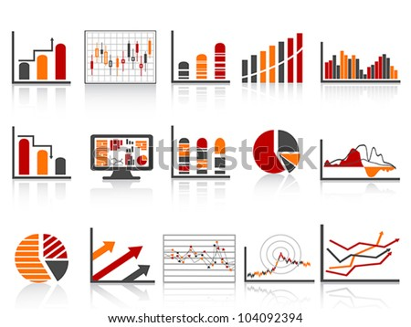 simple color financial management reports icon - stock vector