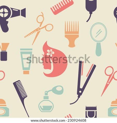Simple Colored Barbershop Pattern Graphic Design in Flat Style on Very Light Brown Background. - stock vector