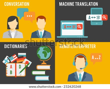 Simple Colored Graphic Design of Foreign Language Translation Concept in Orange and Gray Background. - stock vector