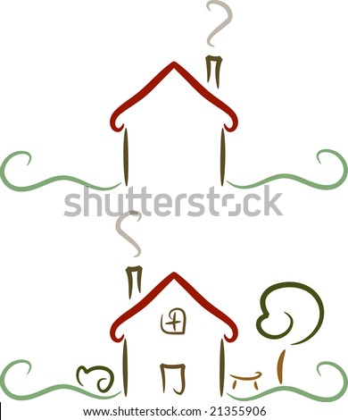 Simple colored illustration of a house/home with garden, perfect for logo and design purposes (vector)