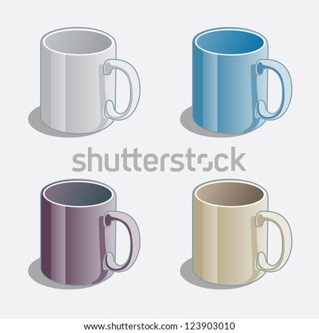 Simple Colored  Mugs - stock vector