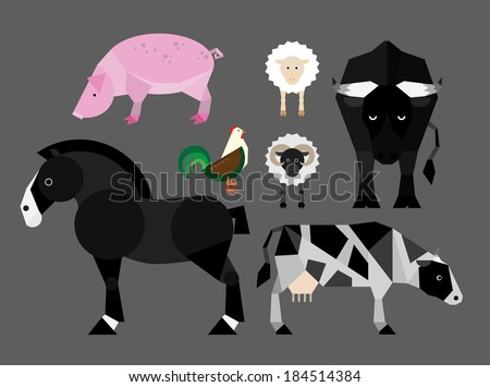 Simple colorful flat illustration of farm animals - stock vector