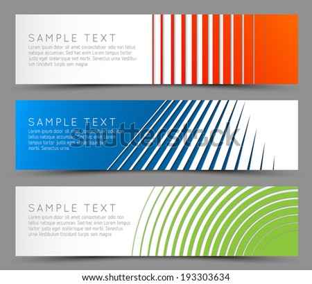 Simple colorful horizontal banners - with line motive - stock vector