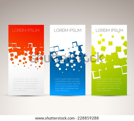 Simple colorful horizontal banners - with square motive - stock vector