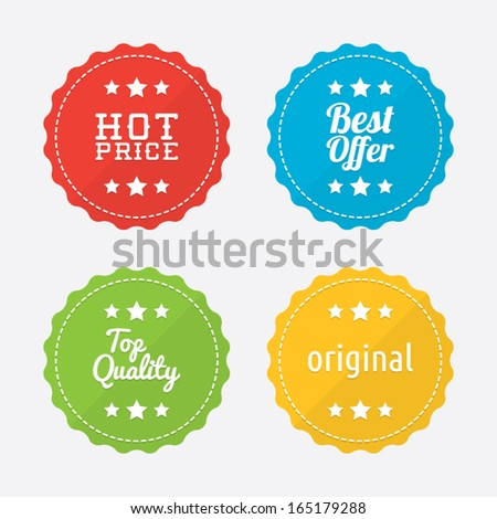 Simple Colorful Promotional Badges - stock vector