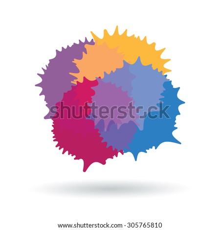 Simple colorful stains icon with transparency and shadow - stock vector
