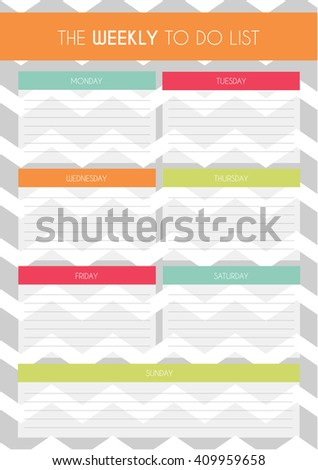 Simple Colorful 'Weekly to Do List' Template with Chevron Pattern in Background - stock vector