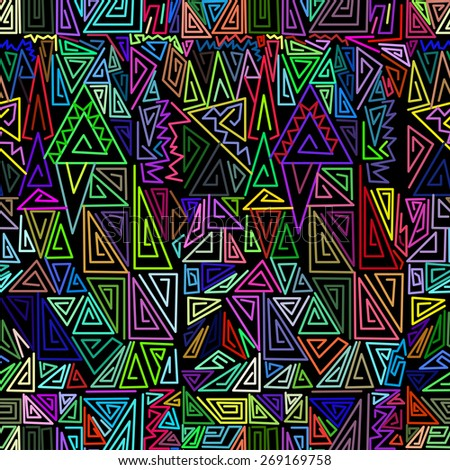 simple colors seamless pattern with abstract triangle on black background - stock vector