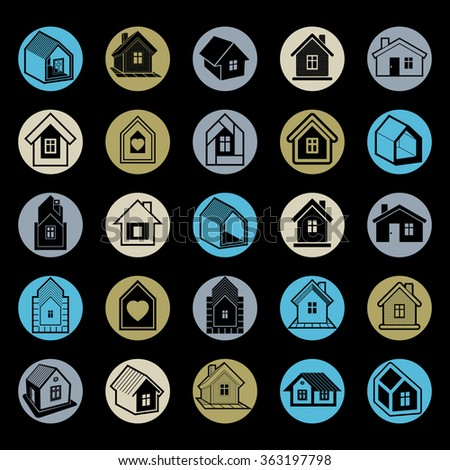 Simple cottages collection, real estate and construction theme. Houses vector illustration, property