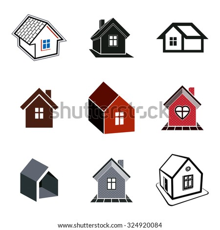 Simple cottages collection, real estate and construction theme. Houses vector illustration with heart symbol.