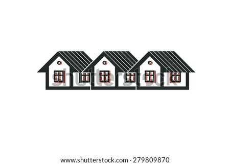 Simple cottages illustration, country houses, for use in graphic design. Real estate concept, region or district theme. Building company abstract vector image. - stock vector