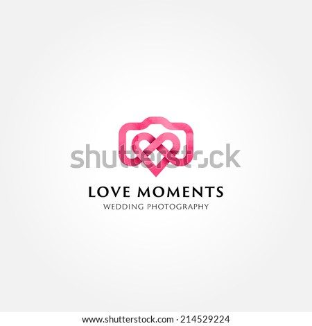 Simple creative wedding photographer symbol, icon, logo consisting of camera and heart - stock vector