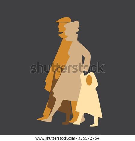 Simple cut of four member family. Vector graphic. Parents with kids. - stock vector