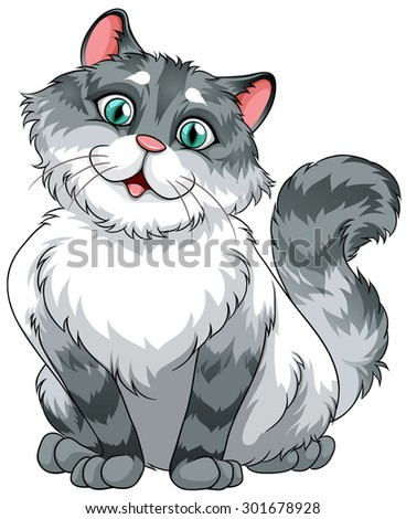 Simple cute cat on white illustration