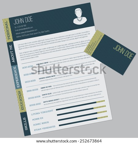 Simple cv design with striped elements and business card - stock vector