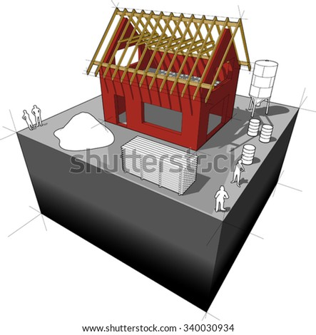 simple detached house with wooden roof framework  - stock vector