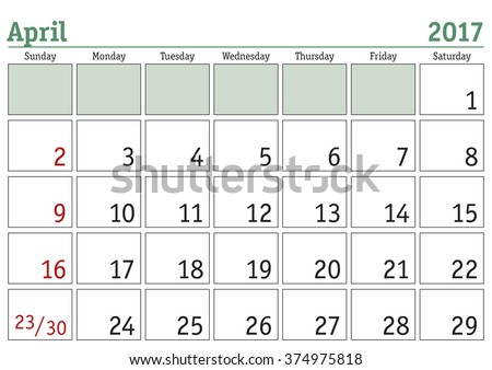 Simple digital calendar for April 2017. Vector printable calendar. Monthly scheduler. Week starts on Sunday. English calendar - stock vector