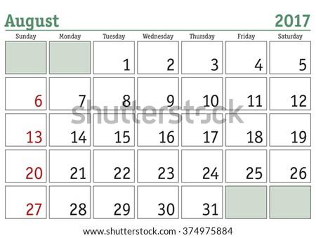Simple digital calendar for August 2017. Vector printable calendar. Monthly scheduler. Week starts on Sunday. English calendar - stock vector