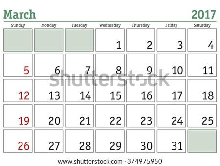 Simple digital calendar for March 2017. Vector printable calendar. Monthly scheduler. Week starts on Sunday. English calendar - stock vector